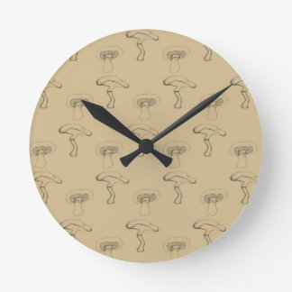 Button mushroom round clock