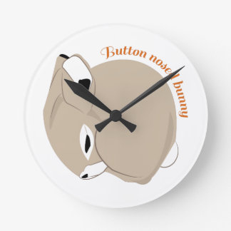 Button Nosed Bunny Round Wallclock