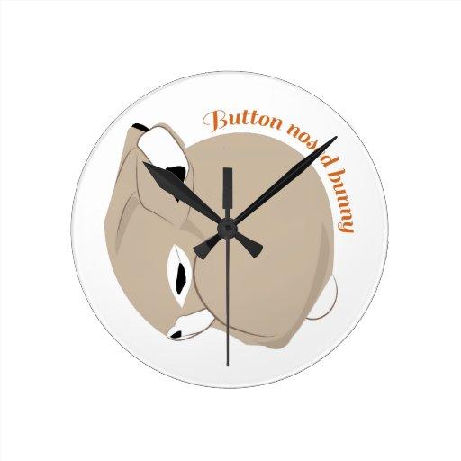 Button Nosed Bunny Round Wallclock