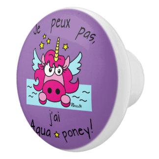 """Button of door """"Unicorn, Aquaponey """" Ceramic Knob"""
