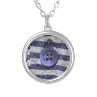 button on the shirt silver plated necklace