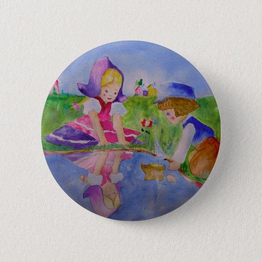 Button Pin Back Playing Sailboat