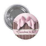 Button Pin- Classy Pink and Brown Striped Design