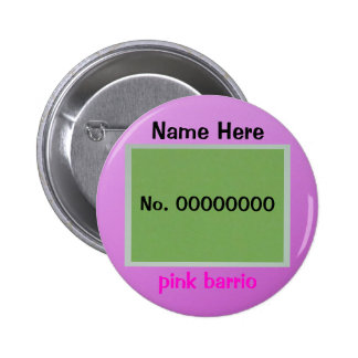 Button - pink barrio - green and pink