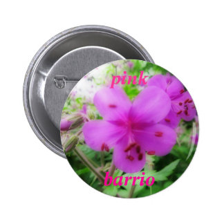 Button - pink barrio - pink-purple flowers