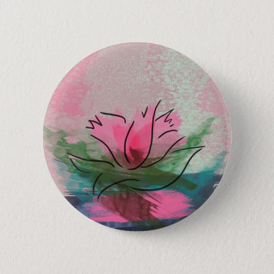 Button, Pink Flower Painting 6 Cm Round Badge