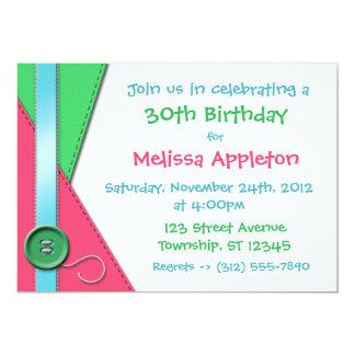 "Button ~ Pink, Green & Blue Birthday Invitations 5"" X 7"" Invitation Card"