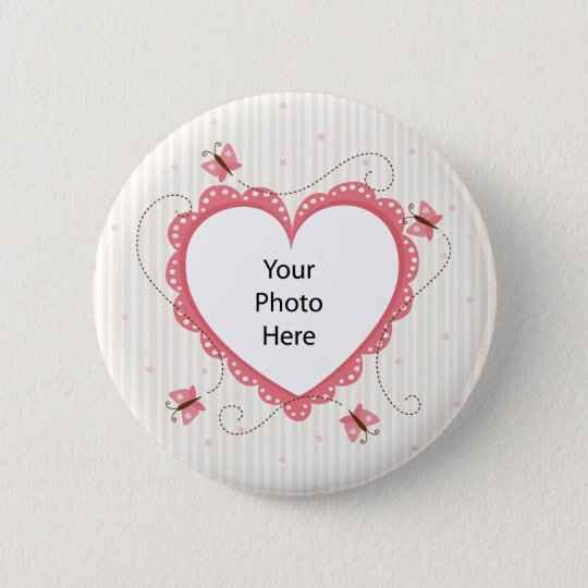 Button: Pink lace heart photo frame 6 Cm Round Badge