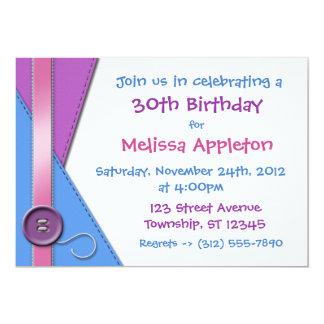 "Button ~ Purple, Blue & Pink Birthday Invitations 5"" X 7"" Invitation Card"