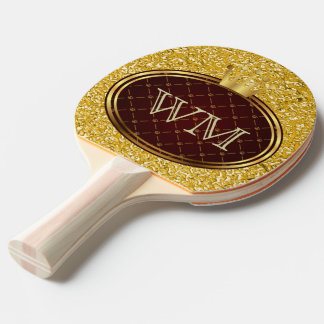 Button RETRO GOLD CROWNS + your monogram Ping Pong Paddle