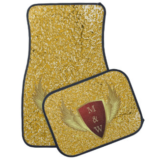 Button RETRO GOLD WINGS II + your monogram Car Mat