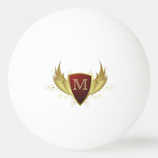 Button RETRO GOLD WINGS II + your monogram Ping Pong Ball
