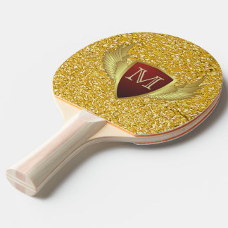 Button RETRO GOLD WINGS II + your monogram Ping Pong Paddle