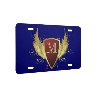 Button RETRO GOLD WINGS II + your monogram License Plate