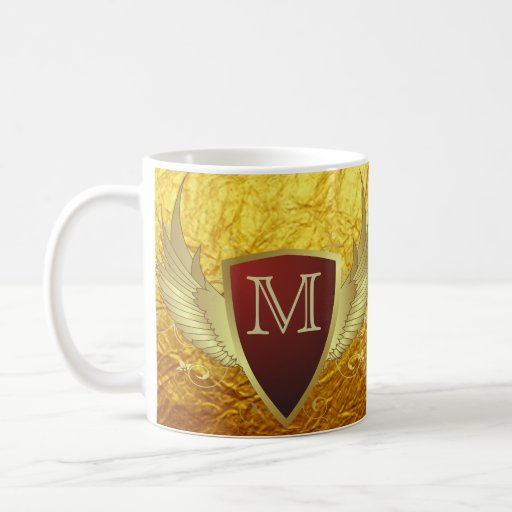 Button RETRO GOLD WINGS II + your monogram Mug