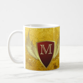 Button RETRO GOLD WINGS II + your monogram Mugs