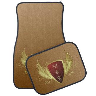 Button RETRO GOLD WINGS II + your monogram Floor Mat