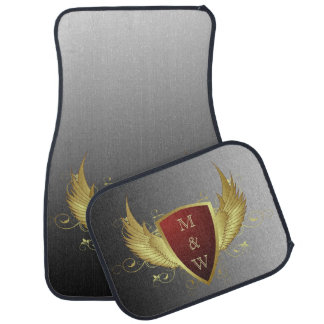 Button RETRO GOLD WINGS II + your monogram Car Mat