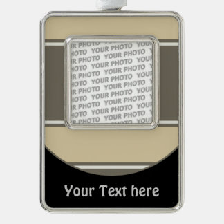 Button RETRO STRIPES + your photo & text Silver Plated Framed Ornament