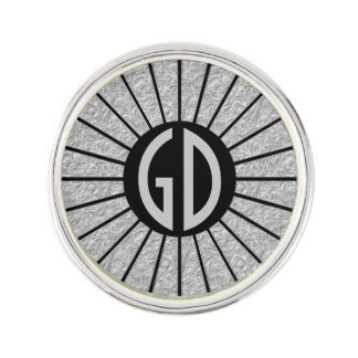 BUTTON ROUND RAYS silver + your monogram Lapel Pin