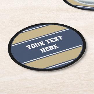BUTTON ROUND stripes blue beige grey + your text Round Paper Coaster