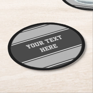 BUTTON ROUND stripes grey + your text Round Paper Coaster