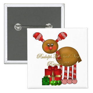 Button-Rudolph the Red Nose Reindeer 15 Cm Square Badge