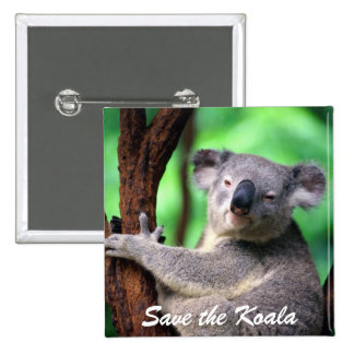 Button-Save the Koala Bear 15 Cm Square Badge