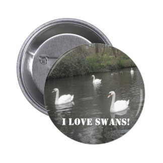 Button Swans Swimming, I Love Swans