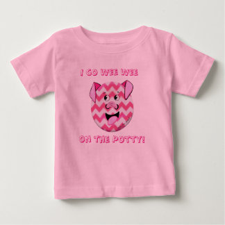 Button Threads Cartoon Pig Potty Training Toddler Baby T-Shirt