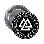 button Tri-Triangle Rune Shield on Blk