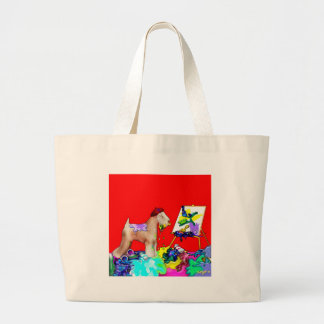 Button:  Wheaten Terrier Artist  (Red Bkgd) Tote Bag
