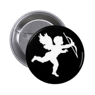 Button White Cupid On Black