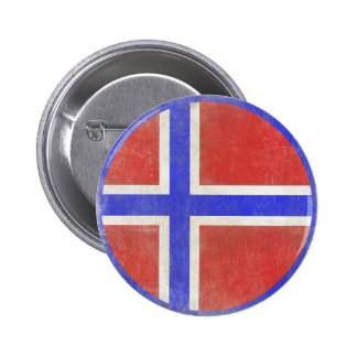 Button with Distressed Norwegian Flag