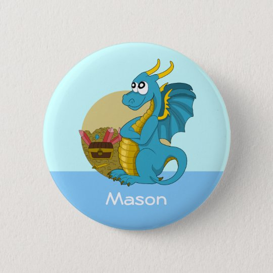 Button with dragon cartoon