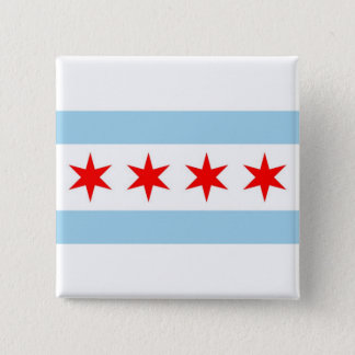 Button with Flag of Chicago, Illinois
