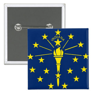 Button with Flag of Indiana