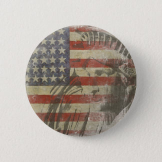 Button with Statue of Liberty on Old American Flag
