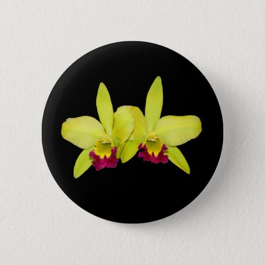 Button, YELLOW and PURPLE_CATTLEYAS 6 Cm Round Badge