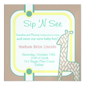 Buttoned Up Baby Giraffe 13 Cm X 13 Cm Square Invitation Card
