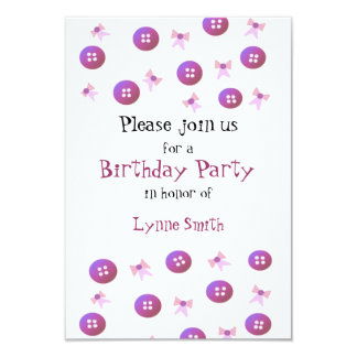 Buttons and Bows Birthday Invitation