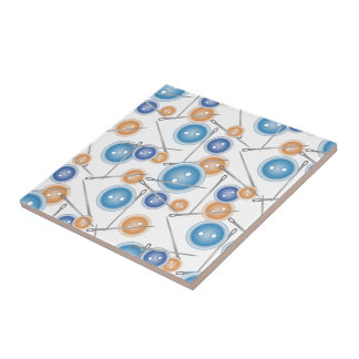 Buttons and Sewing Needles Tiles