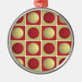 Buttons in Squares Red Premium Round Ornament