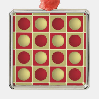 Buttons in Squares Red Premium Square Ornament