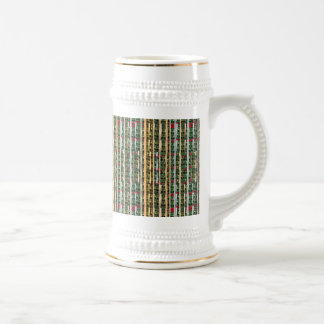 Buttons n Cut Fabric Pattern Art : Greetings Bless Beer Stein