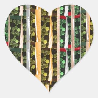 Buttons n Cut Fabric Pattern Art : Greetings Bless Heart Sticker