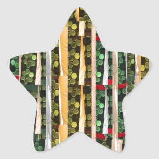 Buttons n Cut Fabric Pattern Art : Greetings Bless Star Sticker