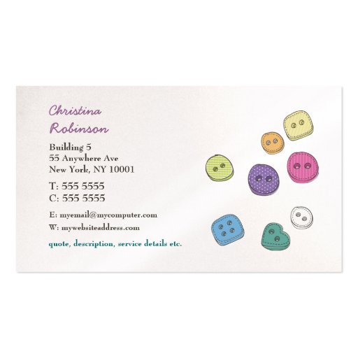 Buttons Sewing Craft Scrapbooking Business Cards