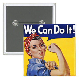 Buttons: We Can Do It  - Vintage Poster Image 15 Cm Square Badge