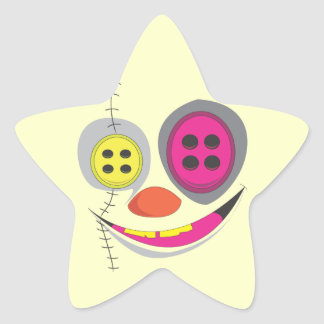 Buttons with Stitches Star Stickers
